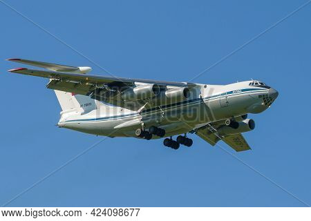Saint Petersburg, Russia - May 29, 2021: Il-76md Heavy Military Transport Aircraft (rf-76615) On A G