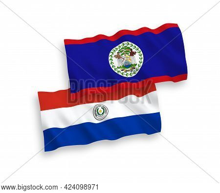 National Fabric Wave Flags Of Belize And Paraguay Isolated On White Background. 1 To 2 Proportion.