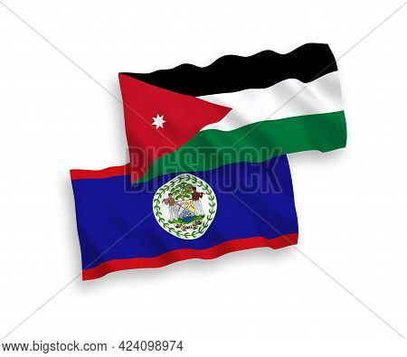 National Fabric Wave Flags Of Belize And Hashemite Kingdom Of Jordan Isolated On White Background. 1