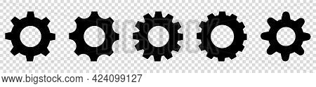 Setting Gears Icon Set. Isolated Black Gears Mechanism And Cog Wheel On Transparent Background