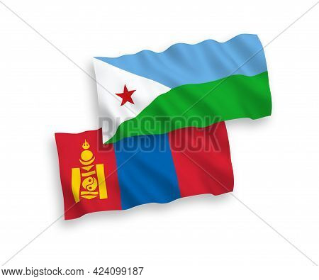 National Fabric Wave Flags Of Republic Of Djibouti And Mongolia Isolated On White Background. 1 To 2