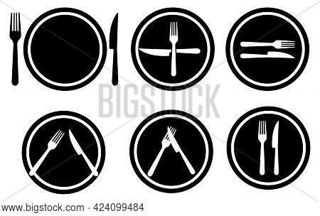 Set Of Cutlery Gestures Which Reflects Thoughts About Food. Fork, Knife And Plate Serving. Vector Ic