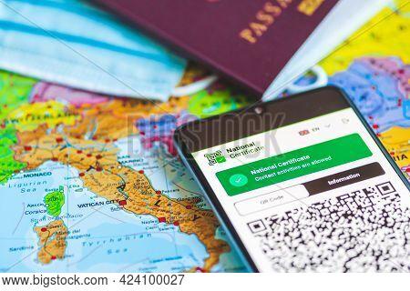 Rome, Italy - June 18 2021: Green Or Covid Pass. Eu Digital Certificate Covid-19. Covid Or Coronavir