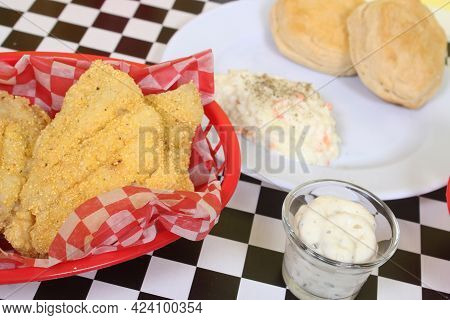 Fried Catfish With Coleslaw And French Fries