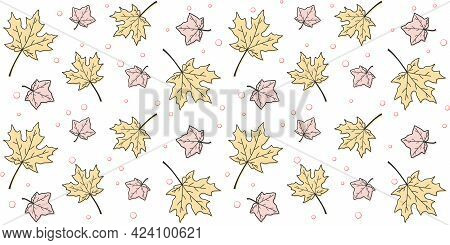 Yellow And Pink Outline Maple Leaves On A White Background With Small Bubbles. Endless Texture With