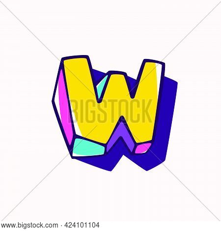 Letter W Logo In Cubic Children Style Based On Impossible Isometric Shapes. Perfect For Kids Labels,