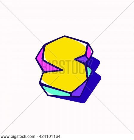 Letter S Logo In Cubic Children Style Based On Impossible Isometric Shapes. Perfect For Kids Labels,