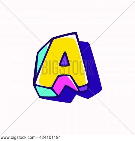 Letter A Logo In Cubic Children Style Based On Impossible Isometric Shapes. Perfect For Kids Labels,