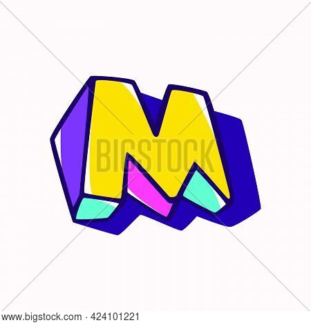 Letter M Logo In Cubic Children Style Based On Impossible Isometric Shapes. Perfect For Kids Labels,