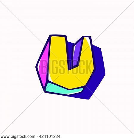 Letter U Logo In Cubic Children Style Based On Impossible Isometric Shapes. Perfect For Kids Labels,