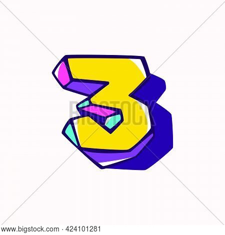 Number Three Logo In Cubic Children Style Based On Impossible Isometric Shapes. Perfect For Kids Lab
