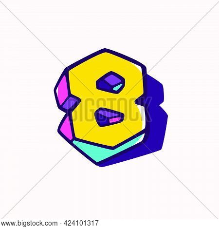 Number Eight Logo In Cubic Children Style Based On Impossible Isometric Shapes. Perfect For Kids Lab