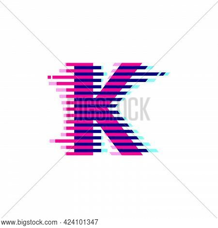 K Letter Logo With Vibrant Line Glitch Effect. Vector Font Perfect To Use In Your Nightlife Labels,