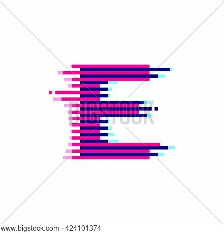 E Letter Logo With Vibrant Line Glitch Effect. Vector Font Perfect To Use In Your Nightlife Labels,