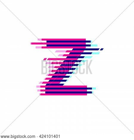 Z Letter Logo With Vibrant Line Glitch Effect. Vector Font Perfect To Use In Your Nightlife Labels,
