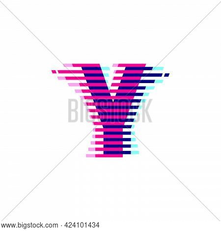 Y Letter Logo With Vibrant Line Glitch Effect. Vector Font Perfect To Use In Your Nightlife Labels,