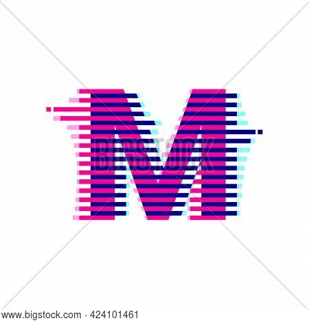 M Letter Logo With Vibrant Line Glitch Effect. Vector Font Perfect To Use In Your Nightlife Labels,