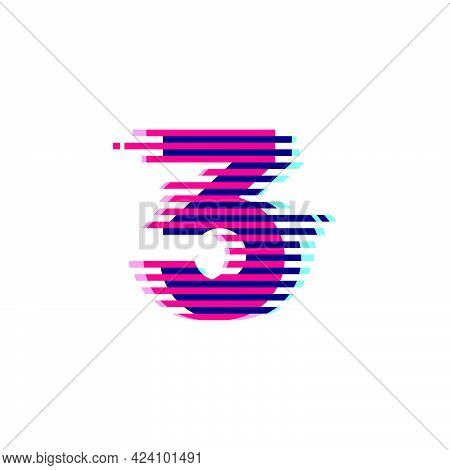 Number Three Logo With Vibrant Line Glitch Effect. Vector Font Perfect To Use In Your Nightlife Labe