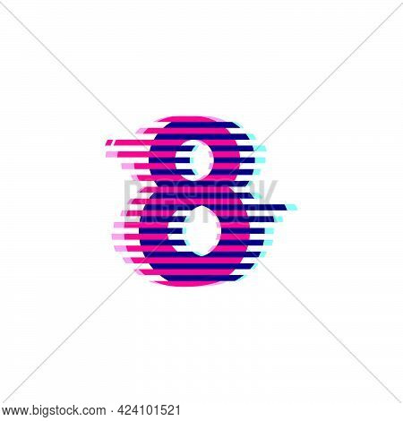 Number Eight Logo With Vibrant Line Glitch Effect. Vector Font Perfect To Use In Your Nightlife Labe
