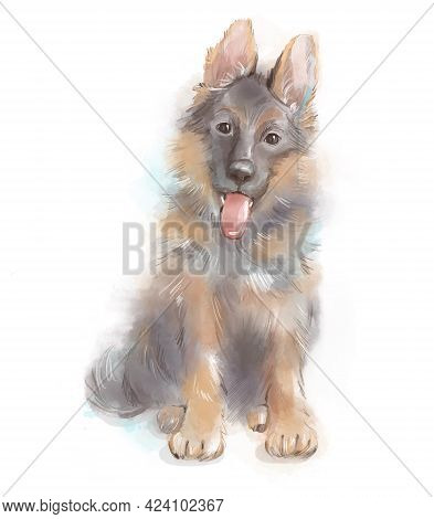 Watercolor Portrait Of Puppy German Shepherd Breed Dog. Aquarelle Painting Isolated On White Backgro