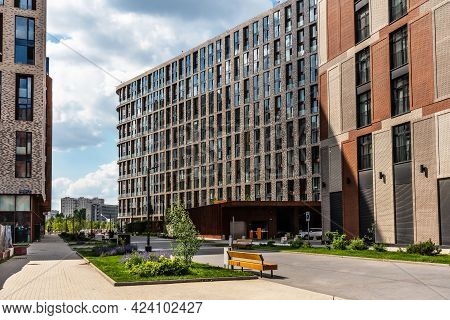 Moscow, Russia - June 14, 2021: New Modern Residential Complex Zilart In Moscow. Pedestrian Street I