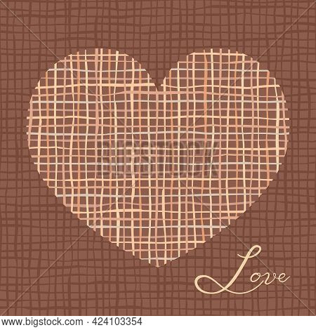 Brown Linen Or Jute Texture. Heart Silhouette Symbol Frame. Square Textile Invitation Or Greeting Ca