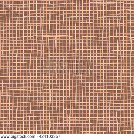 Brown Linen Or Jute Texture. Seamless Pattern Of Textile. Repeating Linen Texture In Dark Colors. Ni