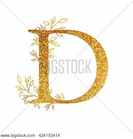Gold Branch And Alphabet - Letter D With Gold Twigs Composition.gold Alphabet Letter On White Backgr
