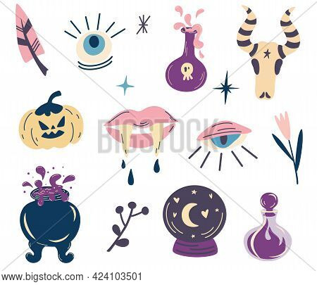 Witch Magic Design Collection. Set Of Elements For Halloween. Party Invitation. For Tattoo, Textile,