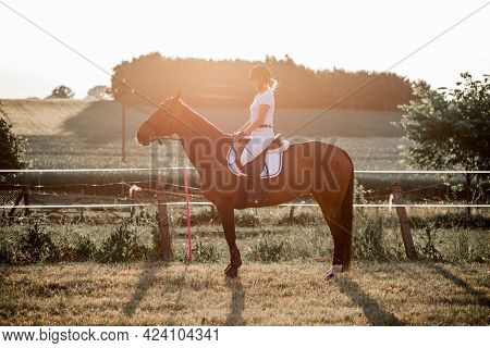 Young Woman Rides Horse Inbackground Of Nature. Sports And Health. Active Recreation. Enjoying Life.