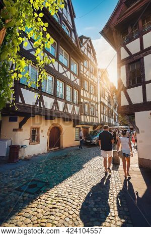 Cafes On Street Of Strasbourg In The Morning, France