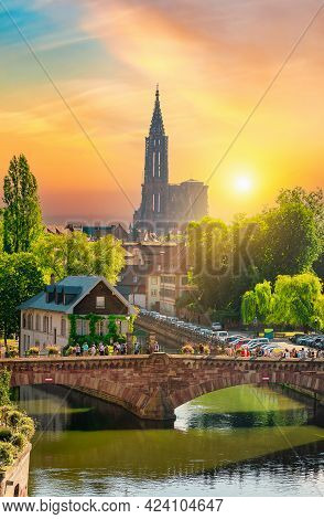 View Of Covered Bridges In Strasbourg And Cathedral