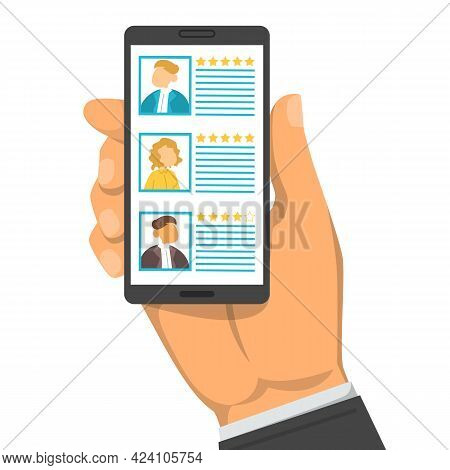 Hand Holding Smartphone With List Of Candidates