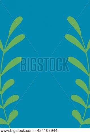 Composition of two green foliage sprigs with central copy space on blue background. invitation or greetings card design template concept with copy space, digitally generated image.