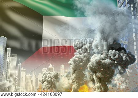 Huge Smoke Pillar With Fire In The Modern City - Concept Of Industrial Explosion Or Terroristic Act