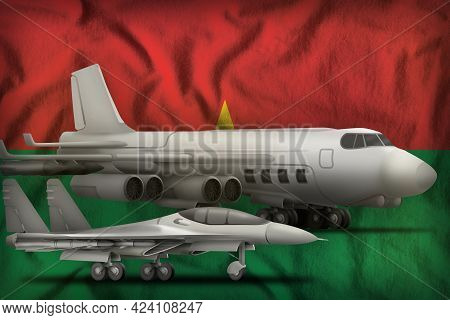 Air Forces On The Burkina Faso Flag Background. Burkina Faso Air Forces Concept. 3d Illustration