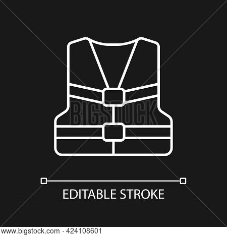 Life Jacket White Linear Icon For Dark Theme. Flotation Device. Swim Vest For Water Sports. Thin Lin