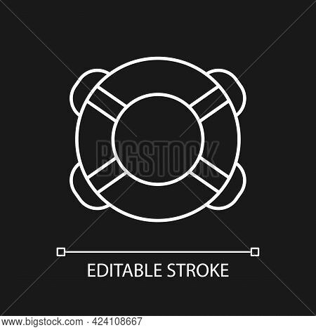 Ring Buoy White Linear Icon For Dark Theme. Life Preserver. Floatation Device. Assisting Swimmer. Th
