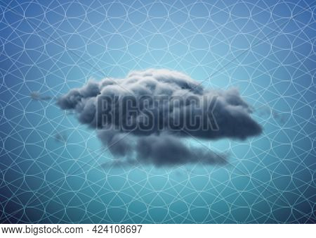 Composition of 3d grey cloud floating over white intricate grid pattern, over blue. cloud computing, networking and sharing concept digitally generated image.