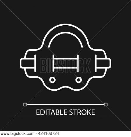 Aqua Jogger White Linear Icon For Dark Theme. Aquatic Fitness. Elastic Belt For Abdominal Muscles. T