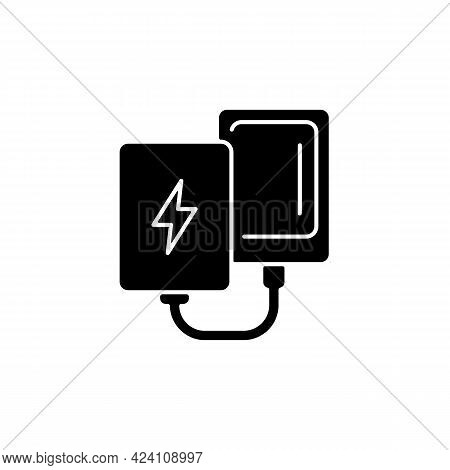 Power Bank Black Glyph Icon. Compact Charger For Mobile Phone. Portable Amenities. Essential Things