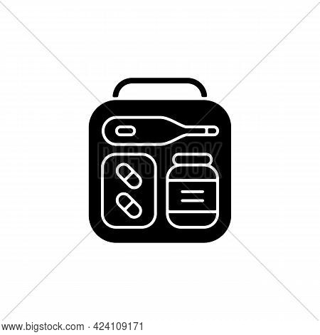 Mini First Aid Kit Black Glyph Icon. Emergency Bag With Medication For Trip. Essential Things For To