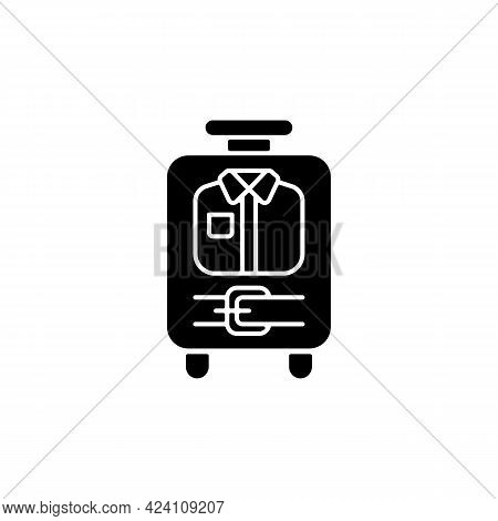 Open Suitcase With Clothing Black Glyph Icon. Garments And Apparel In Traveller Baggage. Things For