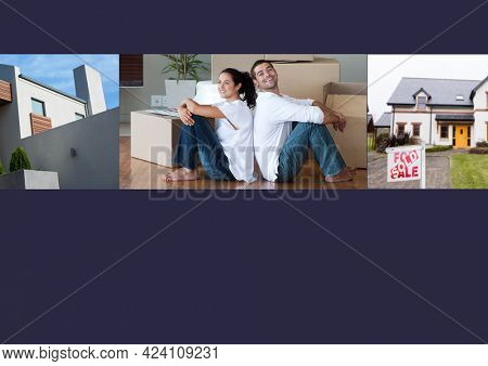 Composition of happy couple moving house, property and sold house on black background. property, ownership and investment concept digitally generated image. appy
