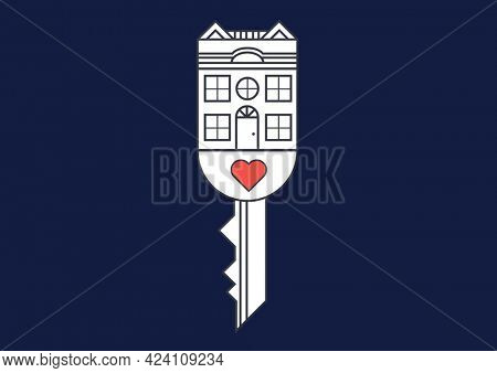 Composition of house and red heart on key over black background. property, ownership and investment concept digitally generated image.