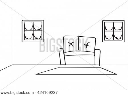 Composition of simplified living room house interior drawing on white background. property, ownership and investment concept digitally generated image.