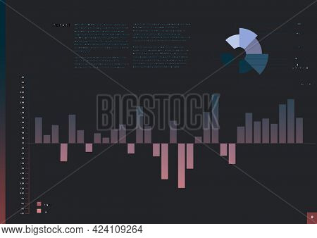 Composition of statistical graph information displayed on interface screen. global business, communication and digital interface concept digitally generated image.