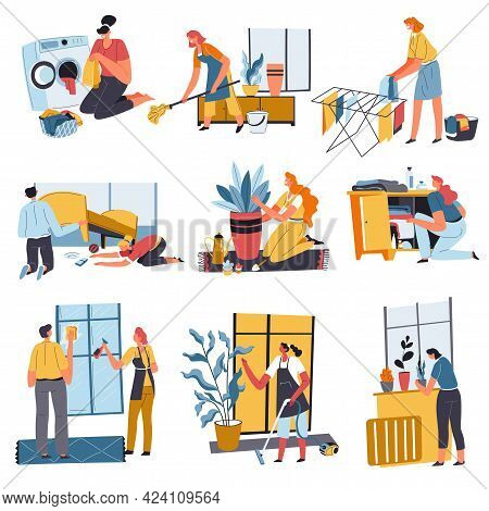 Housework Done By Family, Chores At Home Vector