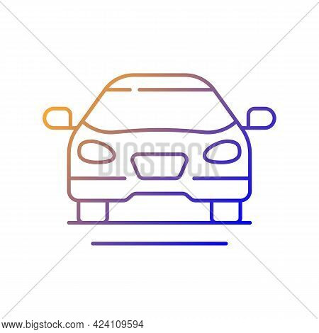 Sedan Car Gradient Linear Vector Icon. Fast Personal Transport. Hybrid Auto For Family Trips. Front