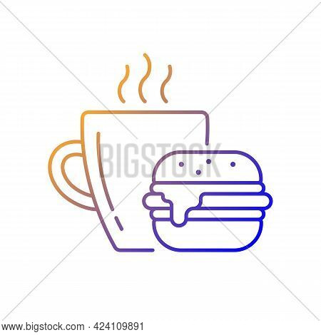 Lunch Gradient Linear Vector Icon. Burger And Drink In Cup. Coffee Mug With Sandwich For Dinner. Din